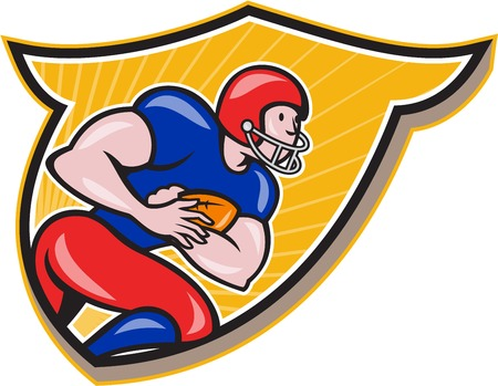 scat: Illustration of an american football gridiron running back player running rushing with ball facing side set inside shield crest done in cartoon style