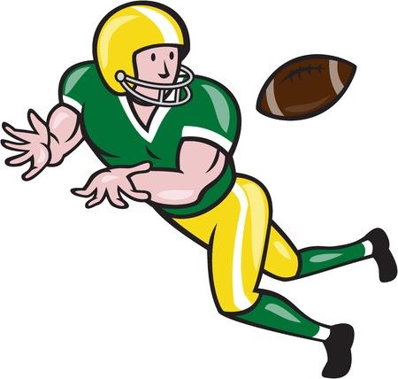 Ilustración de un receptor abierto parrilla de fútbol americano corriendo jugador captura de lado frente a la bola fijó en el fondo aislado hecho en estilo de dibujos animados