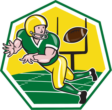scat: Illustration of an american football gridiron wide receiver running back player catching ball facing side set inside hexagon with goal post on isolated background done in cartoon style