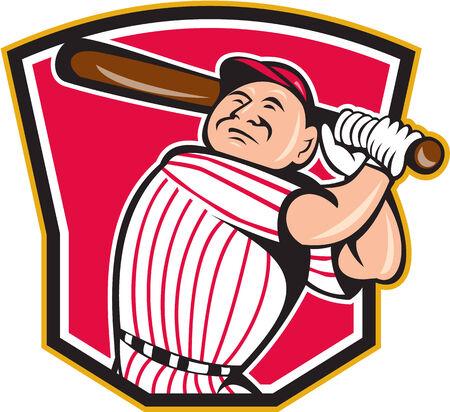 bateo: Ilustraci�n de un jugador de b�isbol bateador bateador bateo americano con el bate en el interior de la cresta forma de escudo hecho en estilo de dibujos animados aislado en el fondo blanco Vectores
