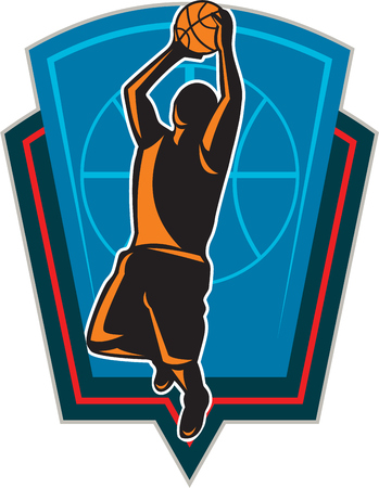 layup: Illustration of a basketball player with ball on a fast break about to make a lay-up or dunk with star and American stars and stripes flag on isolated white background done in retro woodcut style