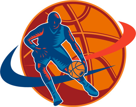 Illustration of a basketball player with ball on a fast break about to make a lay-up or dunk with star and American stars and stripes flag on isolated white background done in retro woodcut style  Stock Vector - 25659875