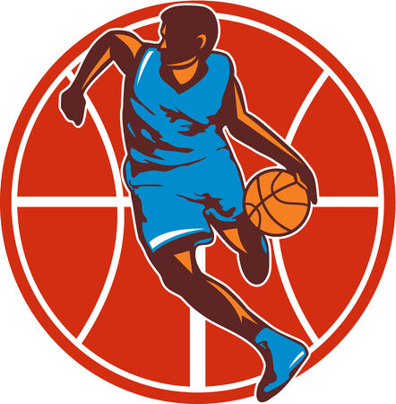 Illustration of a basketball player with ball on a fast break about to make a lay-up or dunk with star and American stars and stripes flag on isolated white background done in retro woodcut style Stock Vector - 25659877