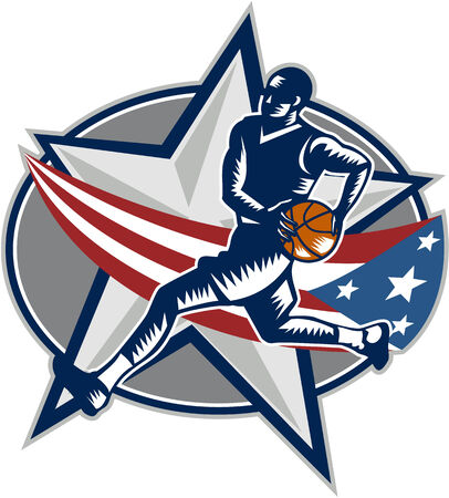 basketball ball: Illustration of a basketball player with ball on a fast break about to make a lay-up or dunk with star and American stars and stripes flag on isolated white background done in retro woodcut style