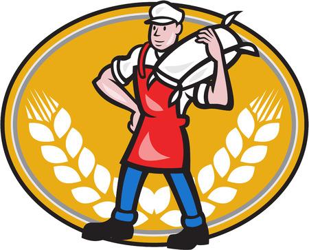 図はエプロンを着ている小麦粉ミラー ワーカーのよだれかけコムギ茎の漫画のスタイルで行うバック グラウンドで交差楕円形の内部設定の肩に運ぶ