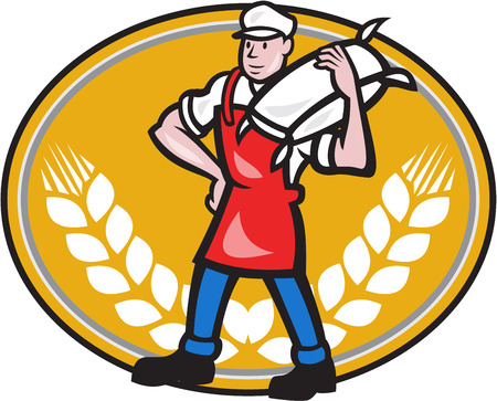 miller: Illustration of a flour miller worker wearing apron bib carrying flour sack on shoulder set inside oval with wheat stalk crossed in background done in cartoon style
