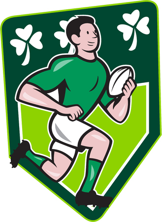Illustration of an Irish rugby player running with the ball set isnide shield with Ireland shamrock clover leaf done in cartoon style  Vector