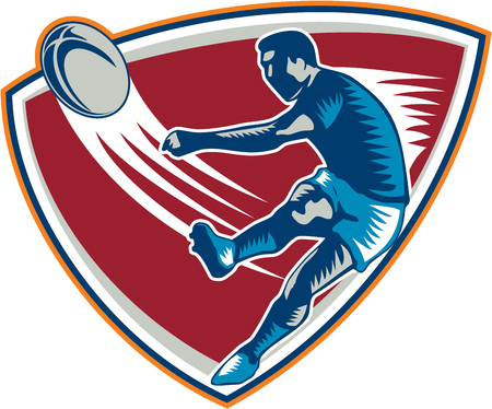 Illustration of a rugby player kicking ball front view set inside shield on isoalated background done in retro woodcut style  Vector