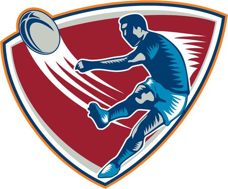 pelota rugby: Ilustración de un jugador de rugby patear vista frontal bola dentro de escudo sobre fondo isoalated hecho en estilo retro grabado en madera Vectores