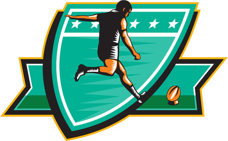 isoalated: Illustration of a rugby player kicking ball rear view set inside shield on isoalated background done in retro woodcut style