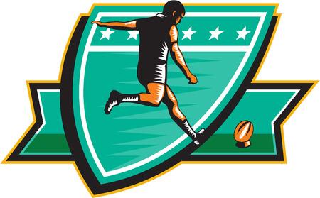 kicking ball: Ilustraci�n de un jugador de rugby patear visi�n trasera pelota dentro de escudo sobre fondo isoalated hecho en estilo retro grabado en madera Vectores