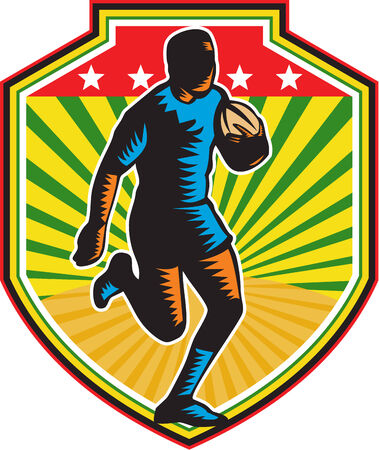 facing: Illustration of a rugby player running with the ball facing front set inside shield crest on isolated background done in retro woodcut style  Illustration