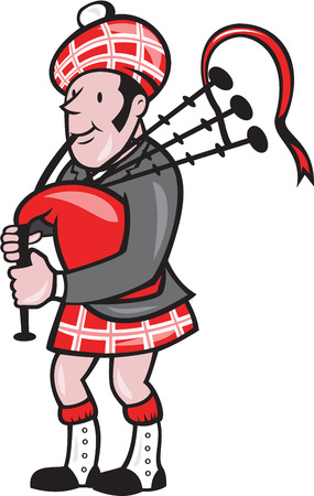 bagpipes: Illustration of a scotsman bagpiper playing bagpipes viewed from side set on isolated background done in cartoon style