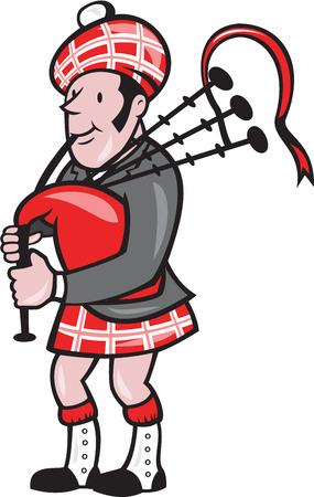 gaita: Ilustración de un gaitero escocés tocando la gaita, vista desde el lado situado en el fondo aislado hecho en estilo de dibujos animados