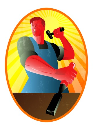 carver: Illustration of a carpenter holding hammer and striking at chisel done in retro style.