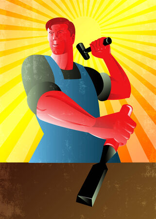 carver: Poster illustration of a carpenter holding hammer and striking at chisel done in retro style. Stock Photo