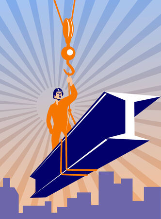 girders: Poster ilustration of construction steel worker riding on i-beam girder with hook done in retro style.