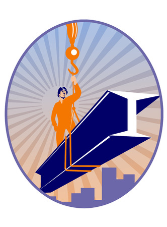 hoisting: Illustration of construction steel worker riding on i-beam girder with hook done in retro style. Stock Photo