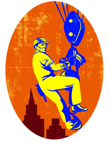 pulley: Illustration of a construction worker wearing hardhat being hoisted on pulley crane with building in background done in retro style