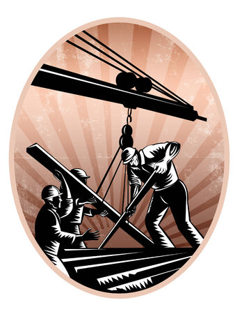 hoisting: Illustration of a team of construction workers wearing hardhat working on steel beams hoisting it on crane boom done in retro woodcut style. Stock Photo