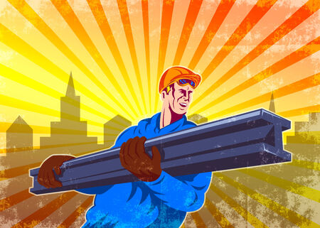 steel worker: Poster illustration of construction steel worker carrying i-beam girder with hook done in retro style. Stock Photo
