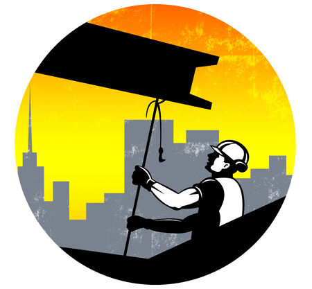 hoisting: Illustration of construction worker pulling i-beam girder with hook done in retro style. Stock Photo