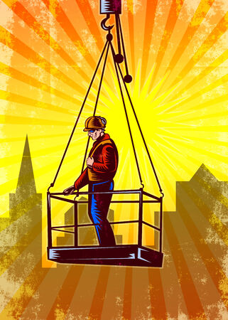 pulley: Poster illustration of a construction worker wearing hardhat being hoisted on pulley platform with building in background done in retro style