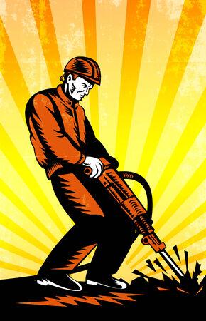 presslufthammer: Poster Darstellung eines Bauarbeiter mit Presslufthammer Presslufthammer Bohr Aushubarbeiten in retro Holzschnitt Stil getan.