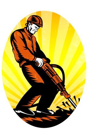 presslufthammer: Illustration von einem Bauarbeiter mit Presslufthammer Presslufthammer Bohr Aushubarbeiten in retro Holzschnitt Stil getan.