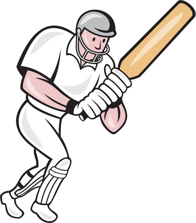 batsman: Illustration of a cricket player batsman with bat batting done in cartoon style on isolated background. Illustration