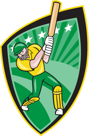 batsman: Illustration of an Australia cricket player batsman with bat batting done in cartoon style on isolated background. Illustration