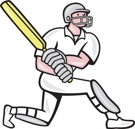 batsman: Illustration of a cricket player batsman with bat batting kneel done in cartoon style on isolated background.