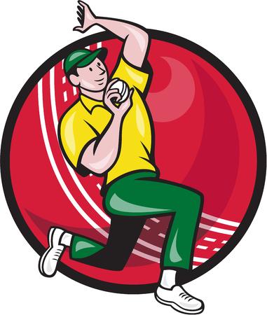 bouliste: Illustration d'un bowling de lanceur de joueur de cricket avec la balle de cricket en arri�re-plan isol� sur fond blanc.