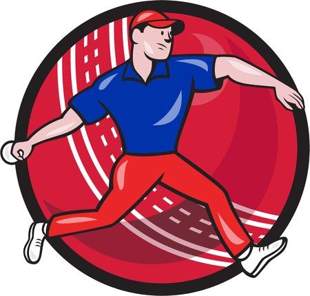 bouliste: Illustration d'un chapeau melon bowling joueur de cricket avec balle de cricket en arri�re-plan isol� sur blanc fait dans le style de bande dessin�e. Illustration
