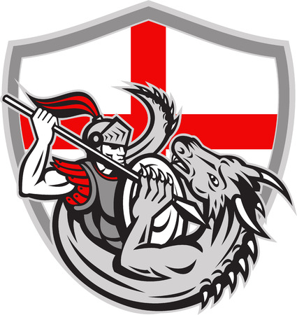 Illustration of an English knight in full armor with lance fighting dragon with England flag in background done in retro style. Vector