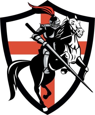 Illustration of knight in full armor riding a horse armed with lance and England English flag in background done in retro style. Vector