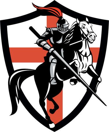 cavaliere medievale: Illustrazione del cavaliere in armatura completa a cavallo armato di lancia e l'Inghilterra bandiera inglese sfondo fatto in stile retr�.