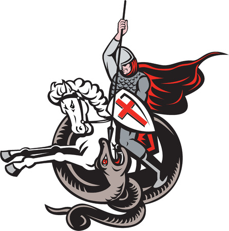 Illustration of an English knight in full armor with lance fighting dragon with England flag in background done in retro style.