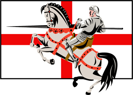 Illustration of an English knight in full armor riding a horse armed with lance and England flag in background done in retro style. Illustration