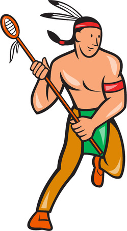 crosse: Illustration of a native american lacrosse player holding a crosse or lacrosse stick viewed from front done in cartoon style.