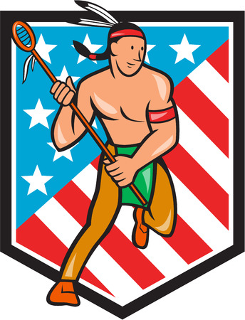 crosse: Illustration of a native american lacrosse player holding a crosse or lacrosse stick viewed from front set inside stars and stripes shield done in cartoon style.