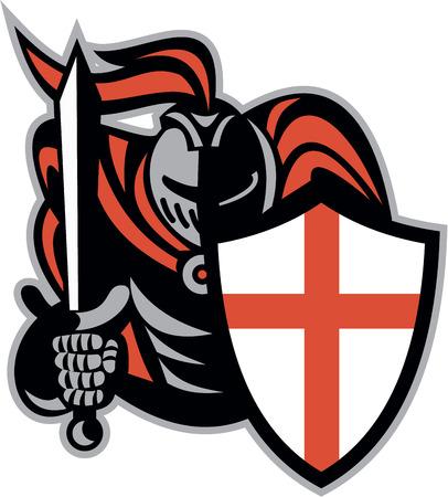Illustratie van een Engels ridder met zwaard en Engeland vlag schild naar de voorkant gedaan in retro stijl op witte achtergrond.