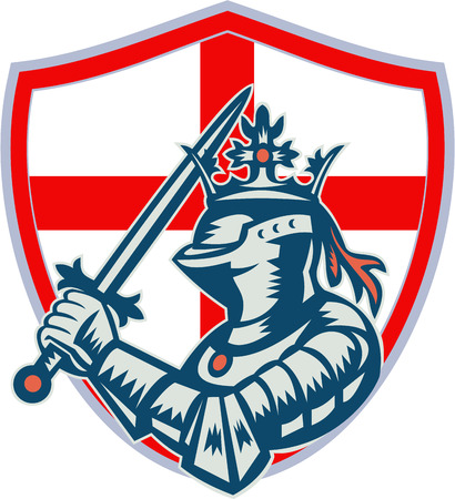 Illustration of knight in full armor brandishing a sword set inside shield with English England flag  done in retro woodcut style. Vector
