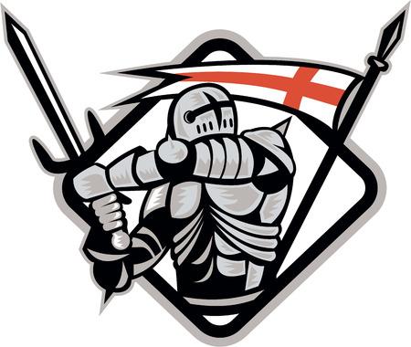 Illustratie van een Engels ridder in volle wapenrusting met zwaard met Engeland vlag in achtergrond gedaan in retro stijl. Stock Illustratie