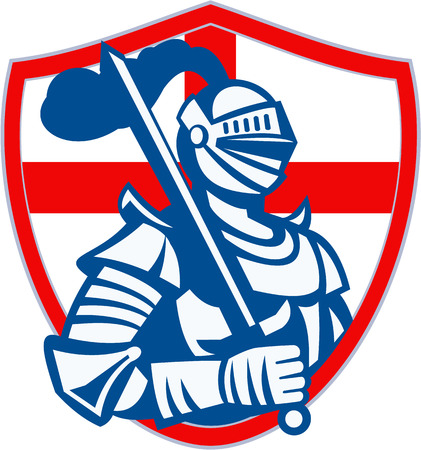 Illustration of an English knight in full armor holding sword with England flag in background done in retro style. Vector