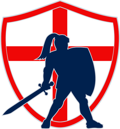 Illustration of an English knight silhouette in full armor holding sword with England flag in background done in retro style.