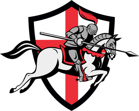 armor: Illustration of knight in full armor riding a horse armed with lance and England English flag in background done in retro style.