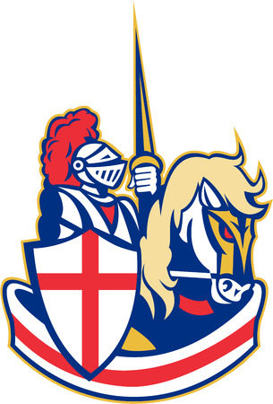 Illustration of knight in full armor riding a horse armed with lance and England English flag in background done in retro style.