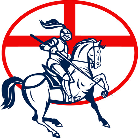 Illustration of an English knight in full armor riding a horse armed with lance and England flag in background done in retro style.