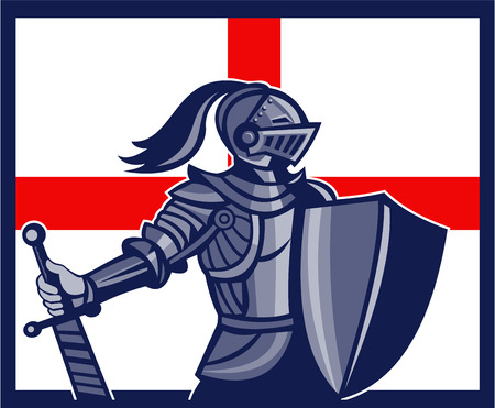 Illustration of an English knight in full armor holding sword with England flag in background done in retro style.